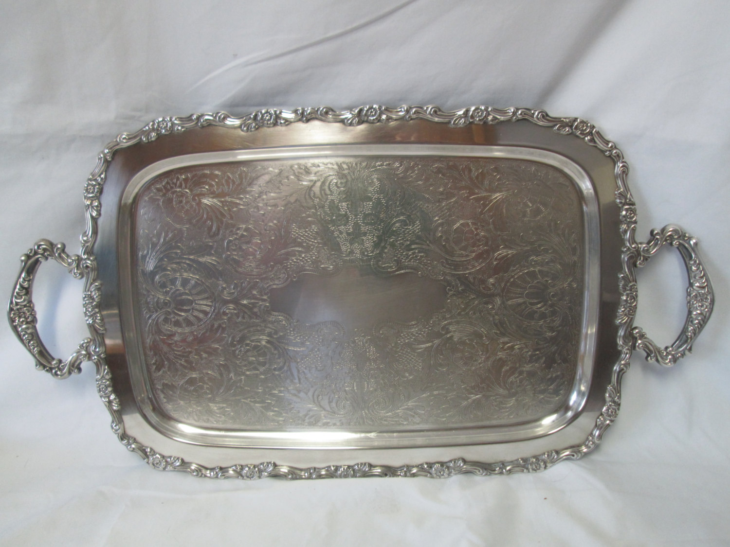 Beautiful Large Rectangular Serving Tray Silver Plate Handled Tray With Ornate Handles And Edges Scrolls And Flowers Footed Tray Carol S True Vintage And Antiques