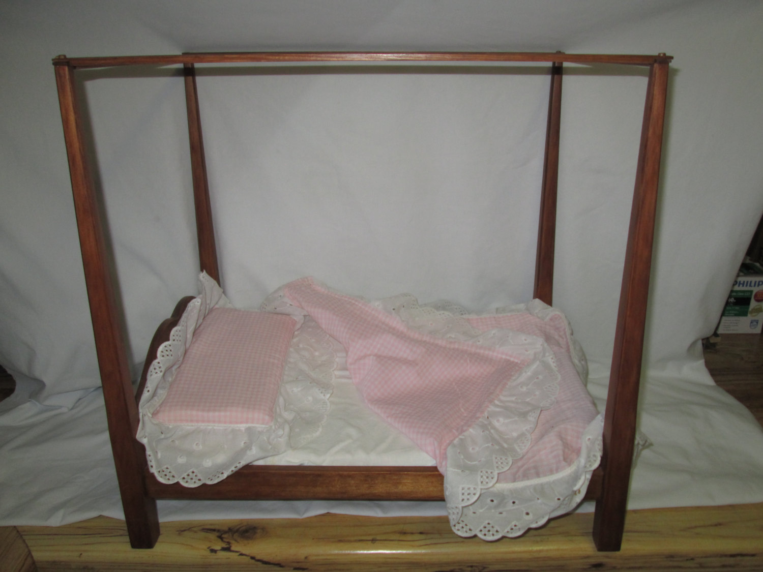 Vintage Canopy Doll Bed Wooden Toy