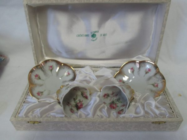 Antique French Tea for Two Set Beautiful Limoges Porcelain tea cups and saucer pair in original box