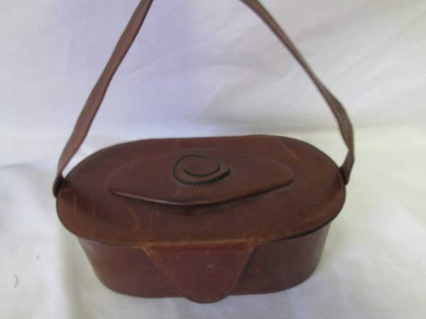 Antique Leather Handbag Purse Box style brown leather beaded leather top fob Snap Closure