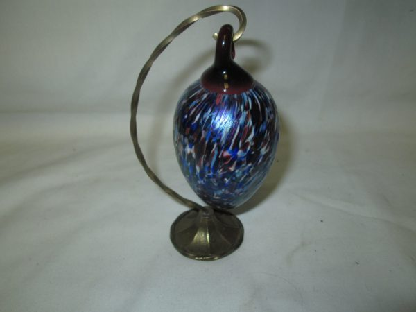 Beautiful Art Glass Iridescent blue purple with Multi colored patterned surface hangs on brass holder Stunning
