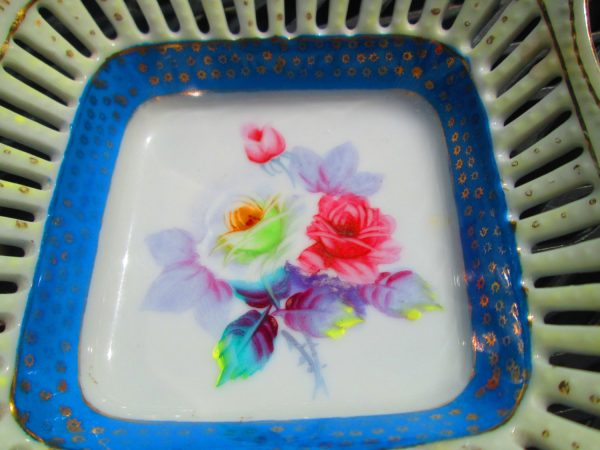 Beautiful Reticulated pierced rim porelain Hand Painted Occupied Japan Bowl Dish Floral with blue and gold