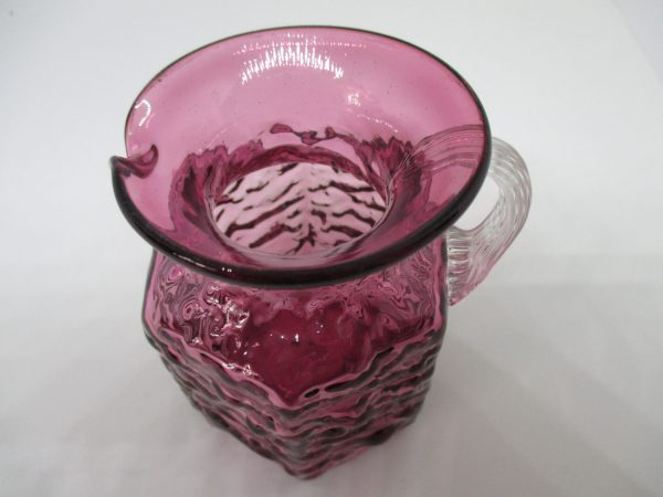 Beautiful Vintage Cranberry Glass Pitcher Miniature with applied ribbed clear handle