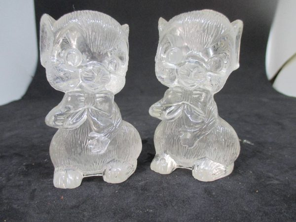 Clear hard Plastic Bears with Bows Salt & Pepper Shakers decor collectible display tableware dinning kitchen cottage 1950's Hong Kong