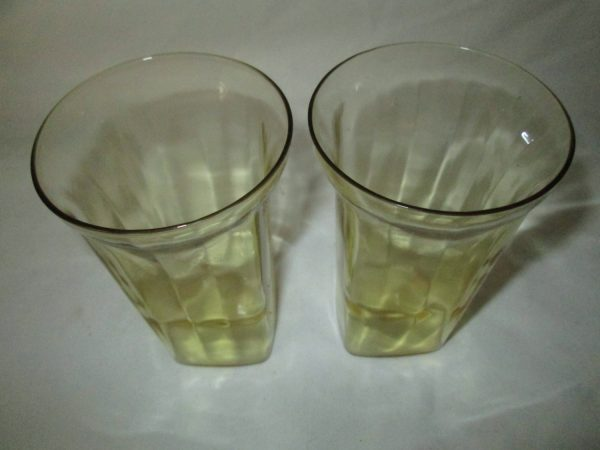 Depression Glass Square base Yellow Gold Pair of matching tumblers paneled pattern flared tops RARE find