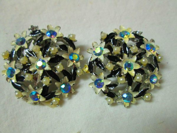 Fantastic Mid-Century Metal and Aurora Borealis Enamel Floral and Pearl Earrings Austrian crystals enameled leaves