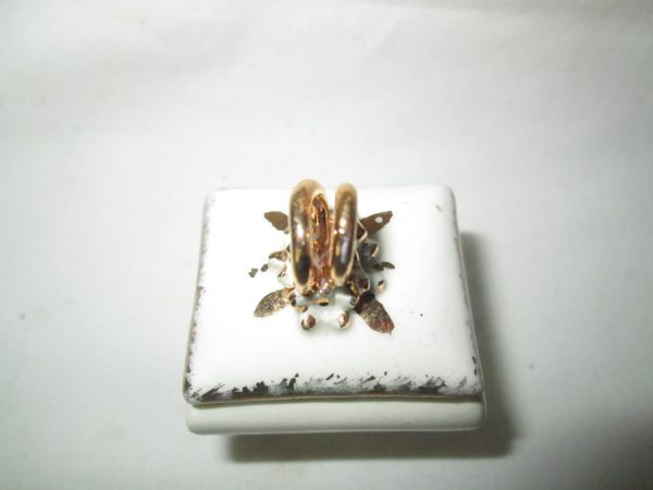 Vintage Miniature Raised Gold Rings Porcelain Ring Box with Legs Gold trim Tiny footed piece Gold Bands on top