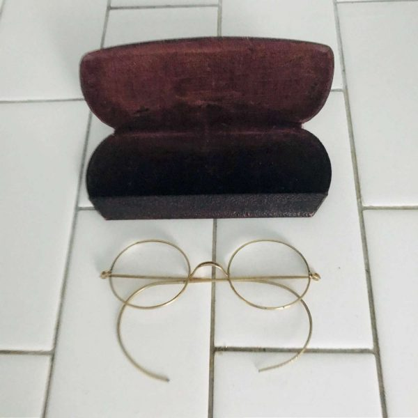 Antique eyeglasses gold wire rim collectible display farmhouse office eye glasses