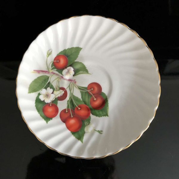Adderley tea cup and saucer England Fine bone china Red Cherries retro kitchen farmhouse collectible display coffee serving dining bridal