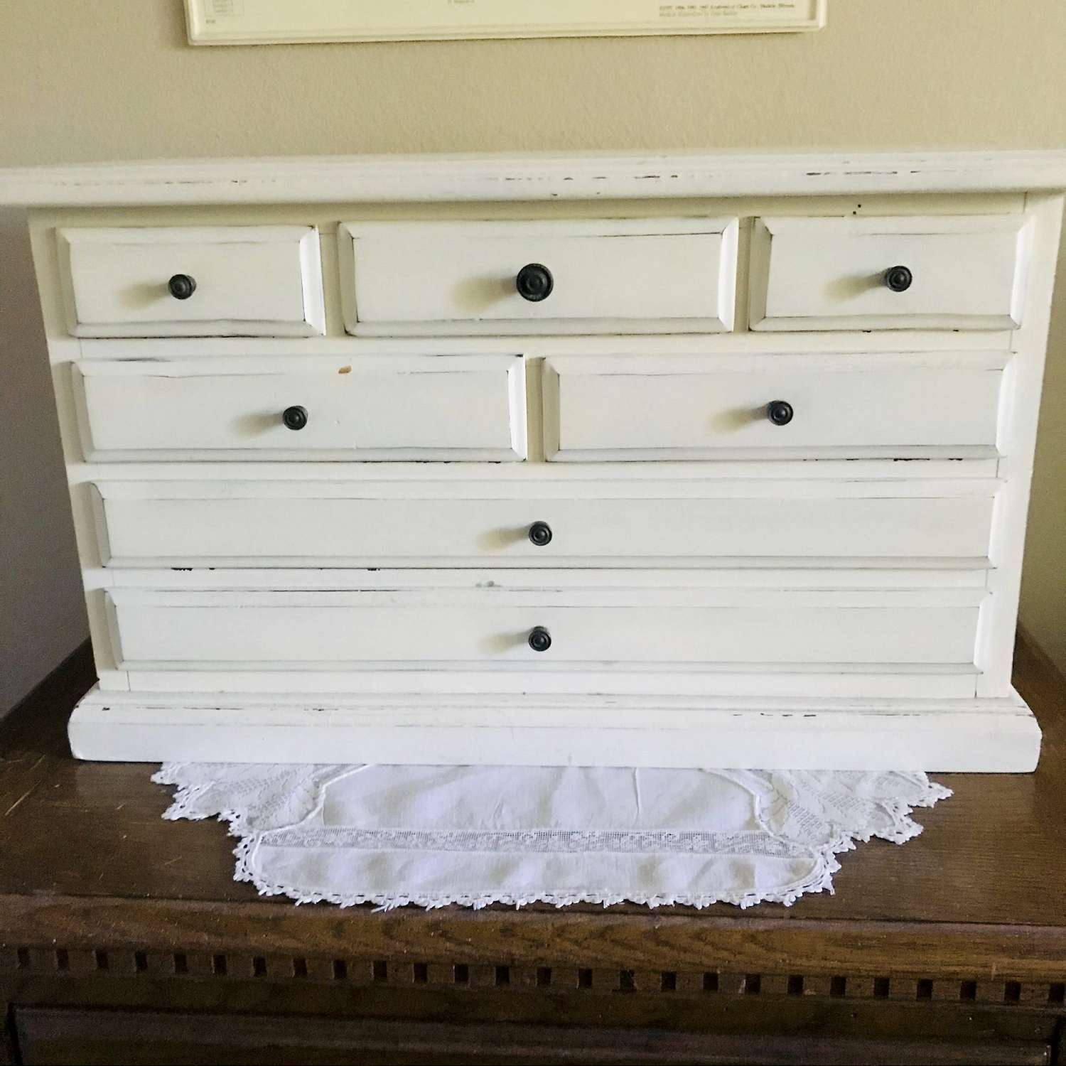 Antique 7 Drawer Wooden Storage Box Dresser Box Jewelry Collectible Trinkets Display Bedroom Office Farmhouse Shabby Chic Cottage Carol S True Vintage And Antiques