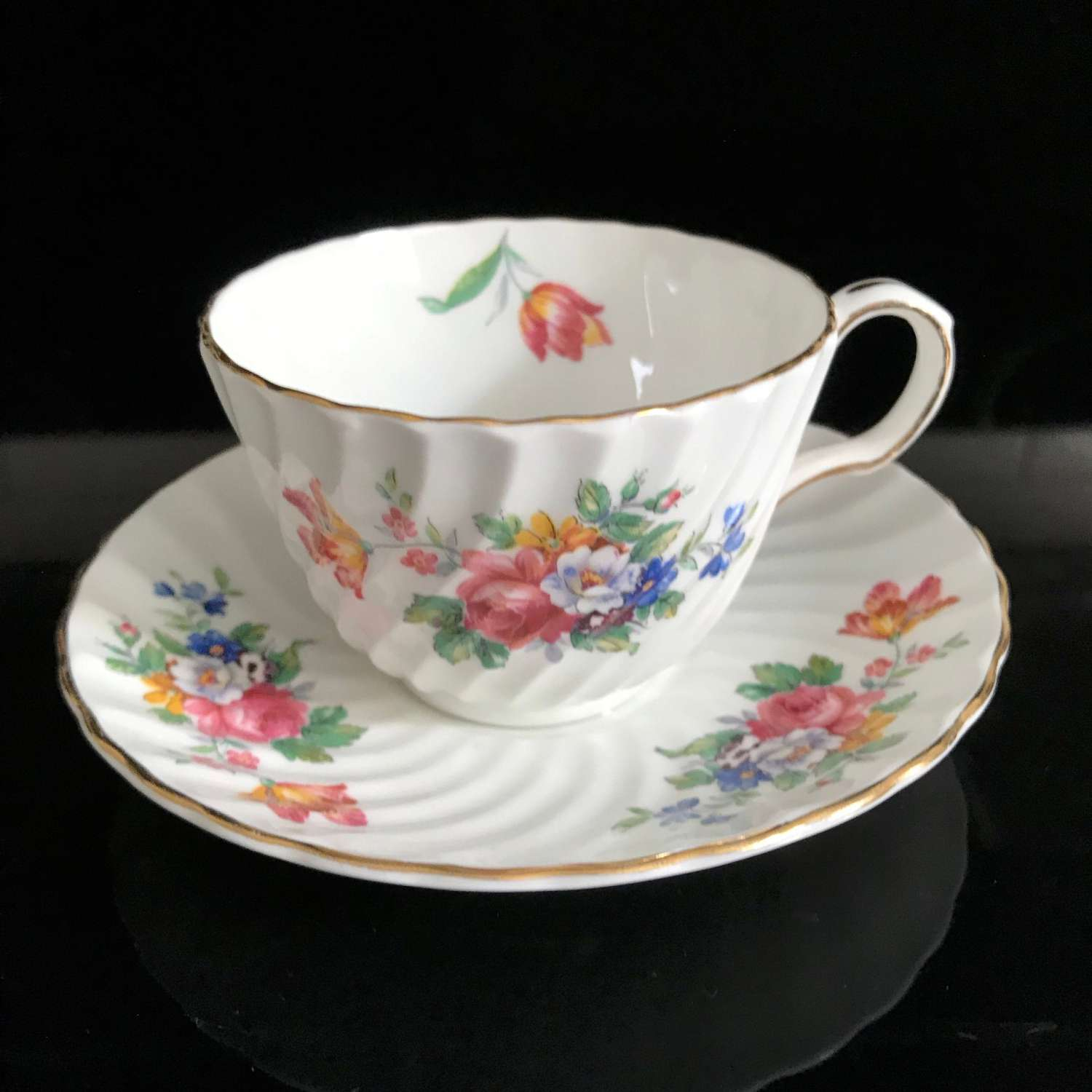 Antique Aynsley Tea Cup And Saucer Dresden Flower Pattern Fine Bone China England Collectible Display Farmhouse Cottage Bridal Shower Carol S True Vintage And Antiques