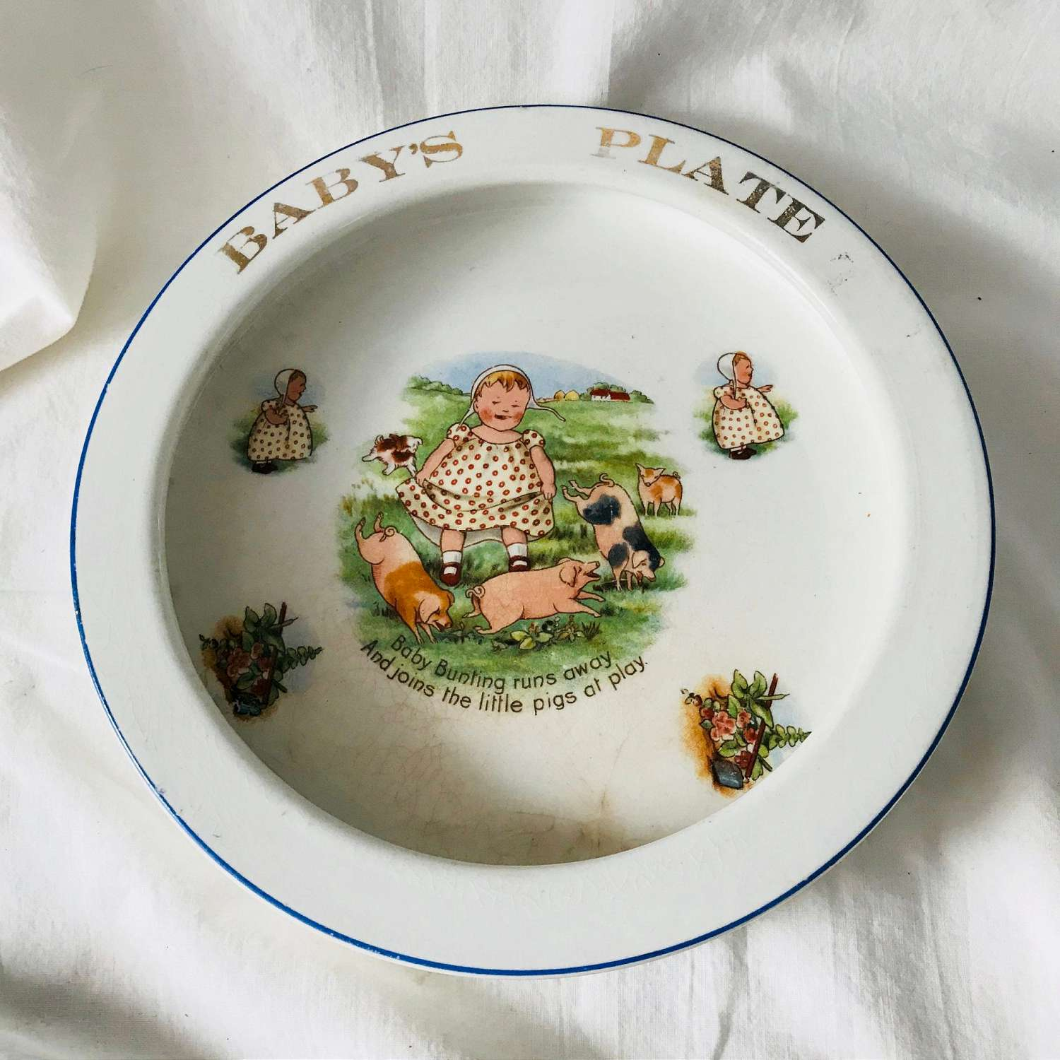 Antique Baby Plate With Great Character Liverpool Ohio Pottery Baby Dish With Rim Farmhouse Collectible Display Early 1920 40 S Carol S True Vintage And Antiques