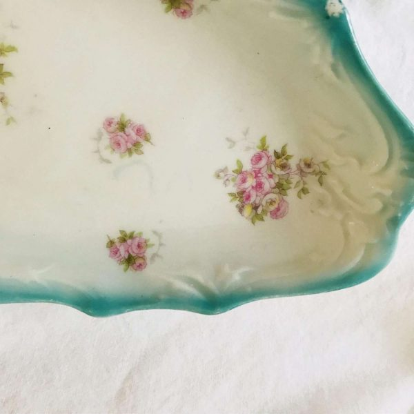"Antique celery dish aqua rim pink rose pattern 11.5"" long 5.25"" wide farmhouse collectible display country cottage shabby chic oblong bowl"