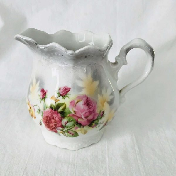 Antique creamer cream pitcher tea coffee decor collectible fine bone china hand painted Leuchtenburg Germany Roses Farmhouse display