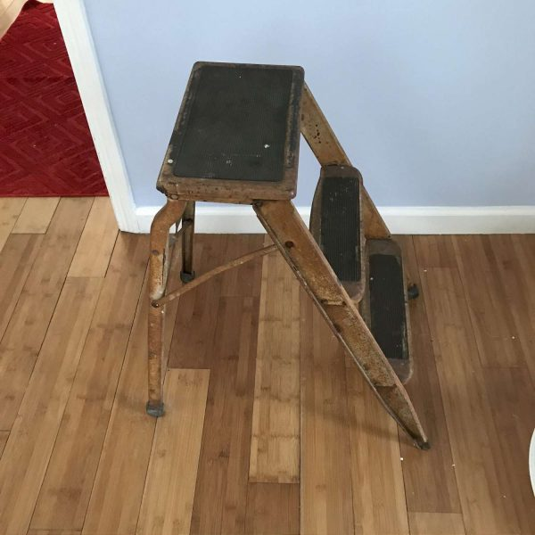 Antique Farmhouse step stool ladder metal legs wooden steps Unique design collectible display barn rustic primitive plants stand patio porch