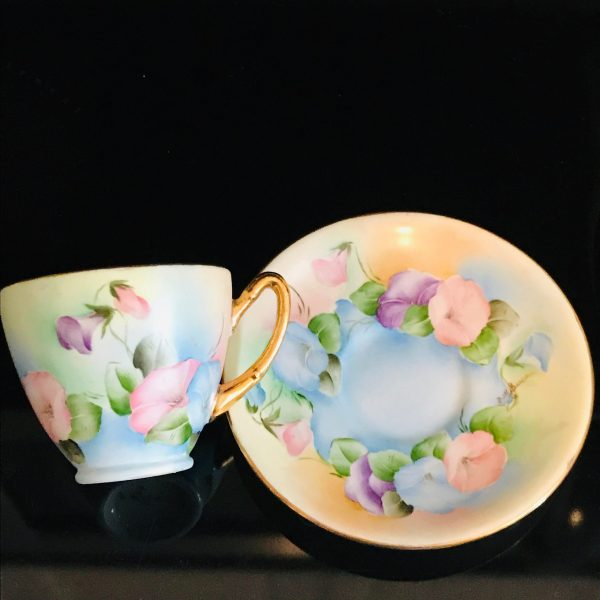 Antique Hand Painted Tea cup and saucer Bright colored morning glories Fine bone china gold trim farmhouse collectible display coffee signed
