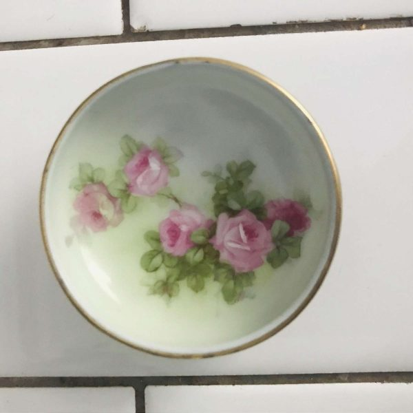 Antique open salt Bavaria hand painted footed base Pink roses light green background farmhouse collectible bridal shower dining table