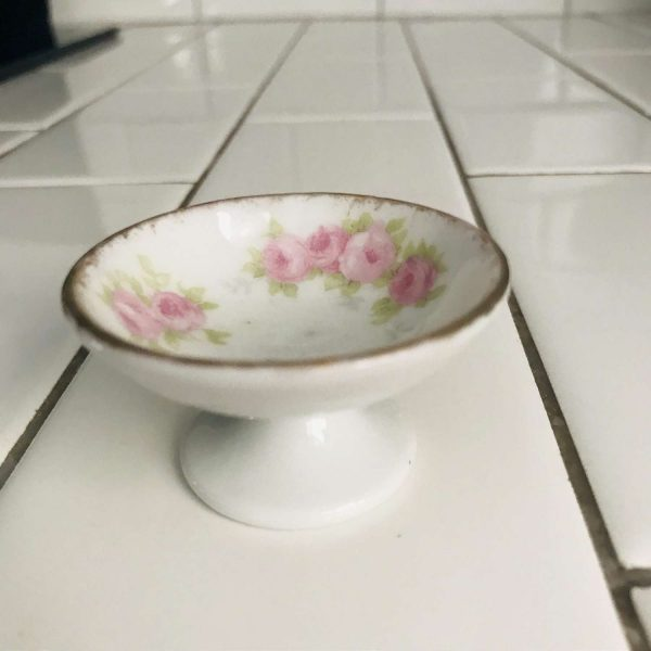 Antique open salt pedestal base tiny pink roses farmhouse collectible bridal shower dining table