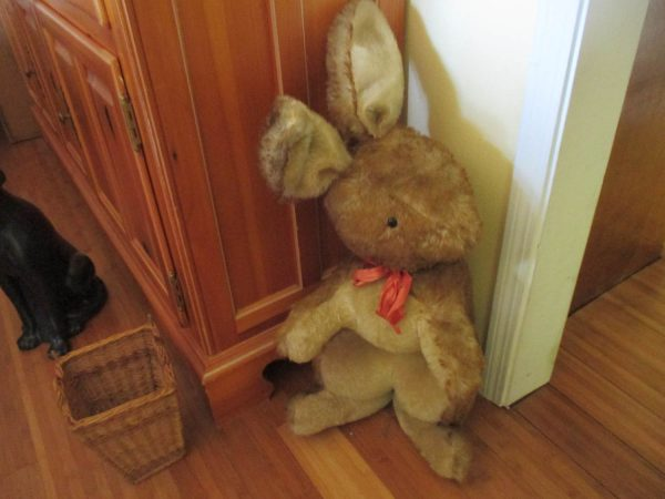 "Antique Petz Giant size German Mohair Rabbit early 1920's glass eyes PETZ button 32"" tall Collectible Display Bunny Easter"