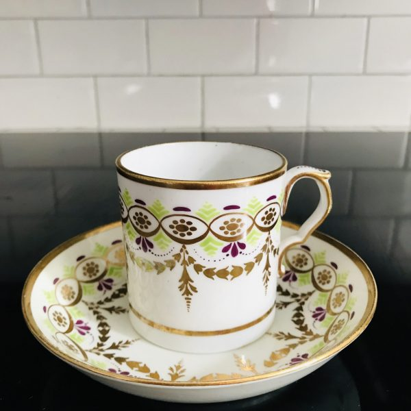 Antique Tea cup and saucer hand painted heavy gold, purple and apple green flat bottom small Fine bone china collectible display