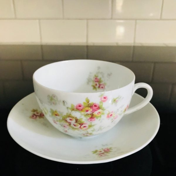 Antique Victoria Austria Tea cup and saucer delicate dainty pink flowers Fine bone china farmhouse collectible display cottage shabby chic