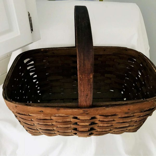 Antique Wooden woven farmhouse basket collectible display movie tv prop handle top early primitive rustic antique