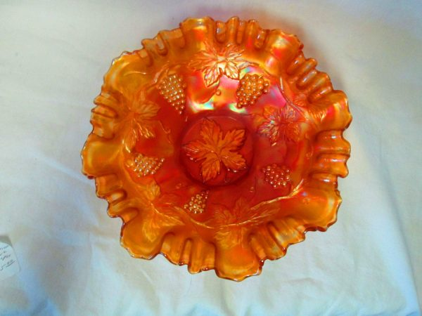 Beautiful Early Carnival Glass bowl Grape pattern ruffle rim Vintage home decor Marigold Bon Bon pedestal dish farmhouse collectible display