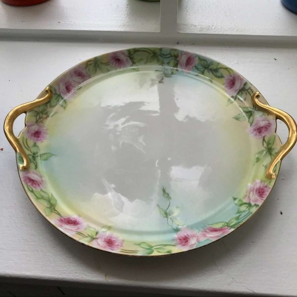Beautiful Limoges France Double handle Plate Hand painted turn of the century fine bone china pink cabbage rose gold handles farmhouse
