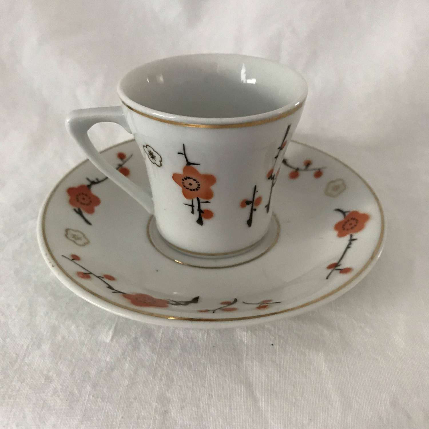 Dainty Demitasse Tea Cup And Saucer Mid Century Orange Black Flowers Display Collectible Entertaining Dining Tea Coffee Cottage Kitchen Carol S True Vintage And Antiques