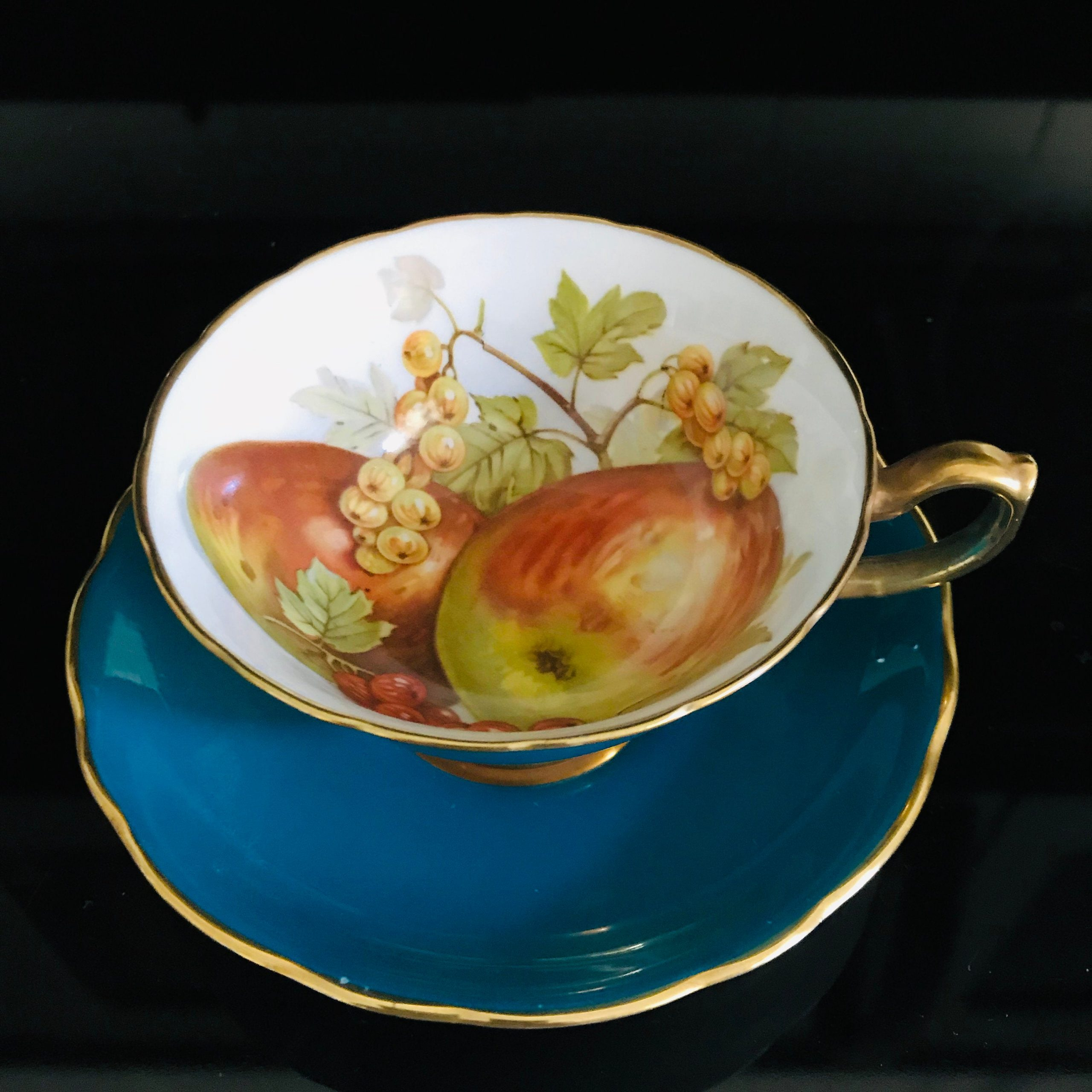 Hammersley Tea Cup And Saucer England Teal With Colorful Fruit Design Inside Cup Detailed Collectible Display Farmhouse Carol S True Vintage And Antiques