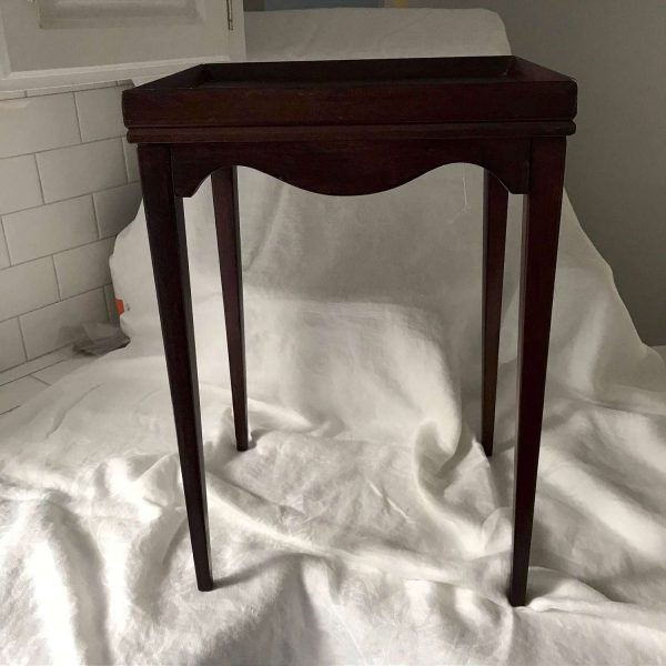 Miniature Antique Wooden Accent table Made in USA Collectible child's furniture pretend play display antique table