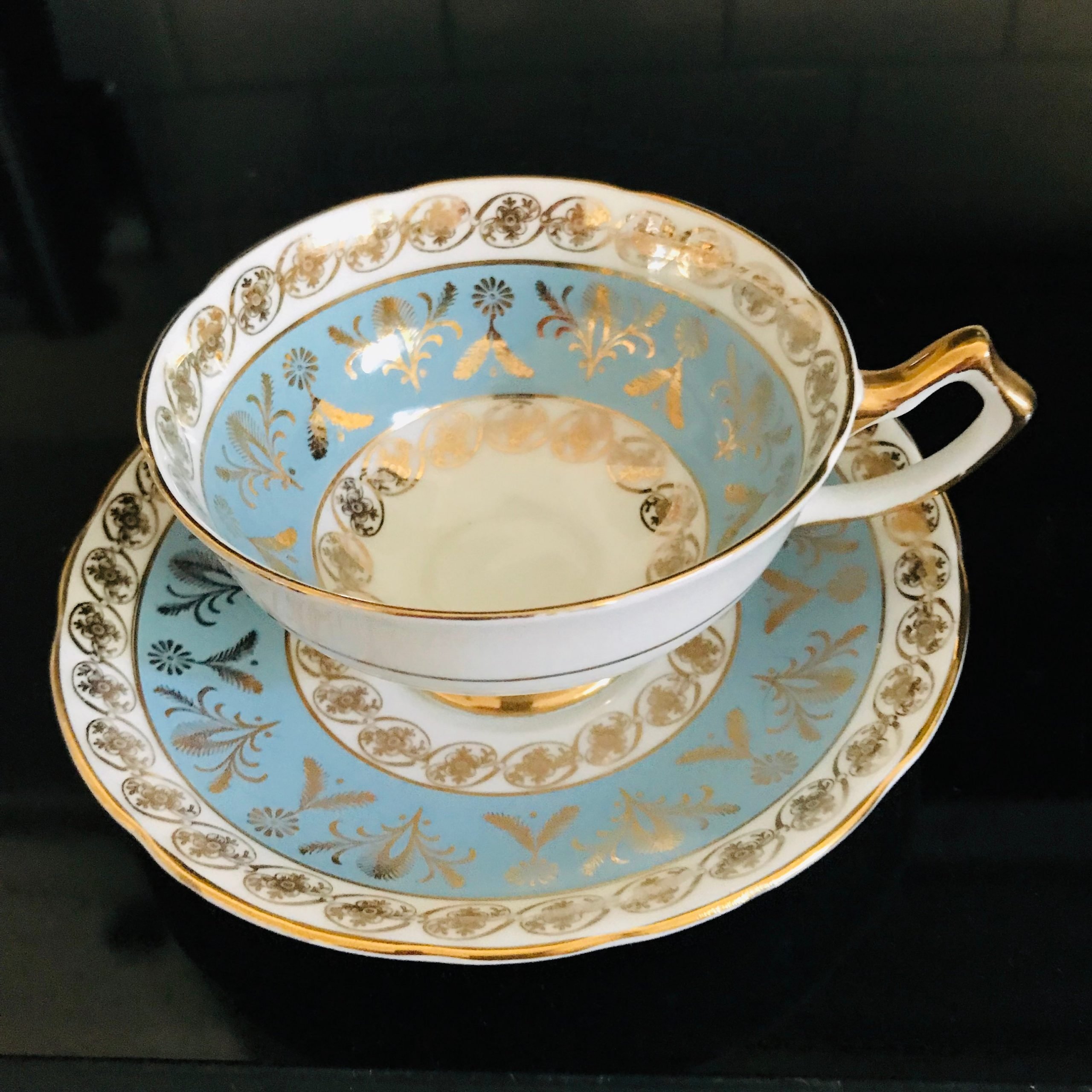 Salisbury Tea Cup And Saucer England Fine Bone China Blue And Gold 3802r Gold Trim Farmhouse Cottage Collectible Display Serving Carol S True Vintage And Antiques