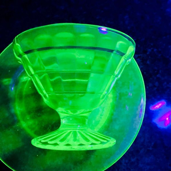 Single Uranium Glass Sherbet cup with under plates dessert bowls fruit cups green glass farmhouse collectible display kitchen dining