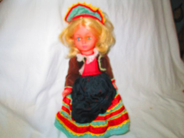 Spanish Doll with Crier Plastic Ornate Clothing Mid Century Spain Nice condition with black bolero jacket