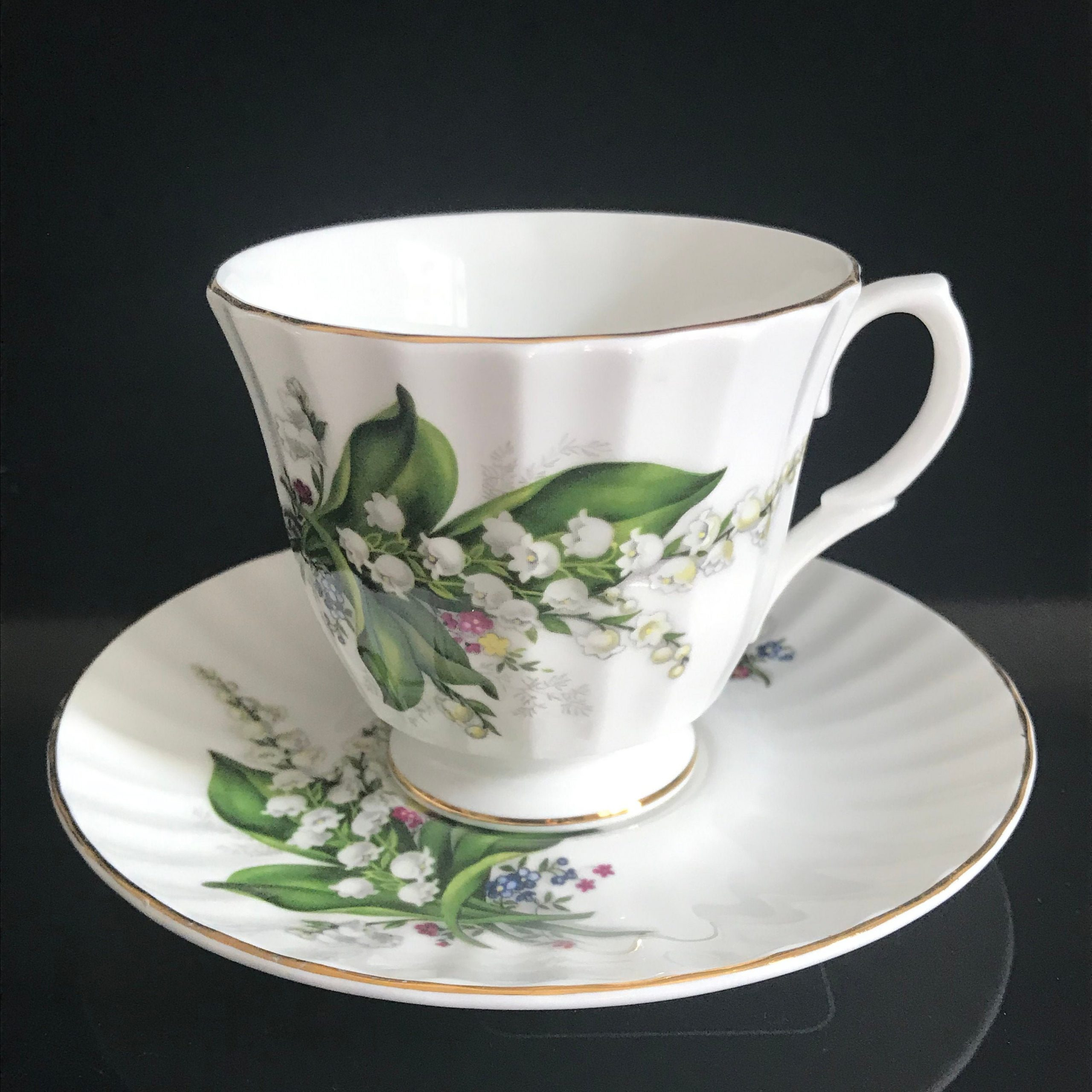 Staffordshire Tea Cup And Saucer England Fine Bone China Lily Of The Valley With Purple Yellow Flowers Farmhouse Collectible Display Carol S True Vintage And Antiques