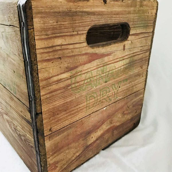 Vintage Canada Dry Wooden Crate Full size double handle display storage farmhouse collectible garage storage man cave