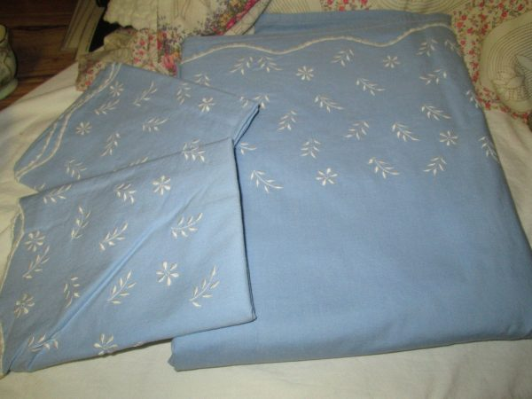 Vintage Cotton Periwinkle Blue Machine Embroidered Home Made Top Sheet & Pillowcase Pair Full or Double size Imported Spain Fabric Custom