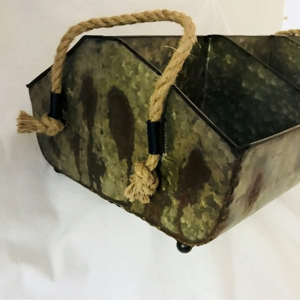 Vintage Farm Galvanized Basket Bin with rope handles at each end Storage Collectible Display Farmhouse Primitive Rustic