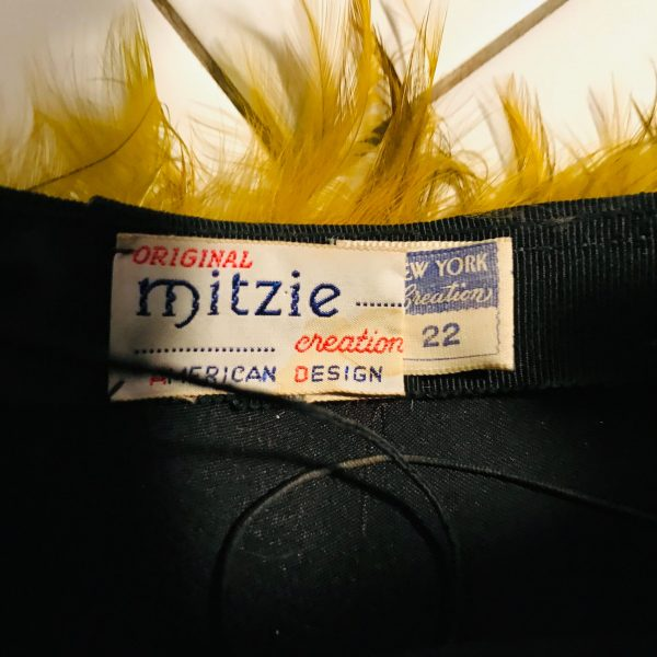 "Vintage Feather Hat 1940's Mitzie USA American creations design New York size 22"" hat size 7 with elastic chin strap movie theater prop"