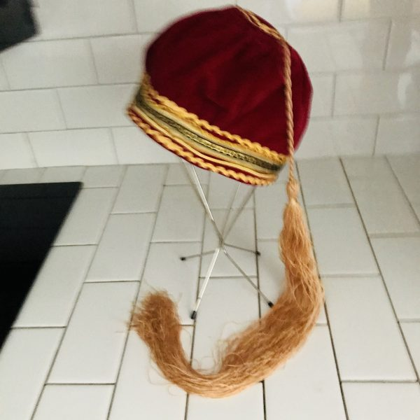 "Vintage Hat Dark Red Velvet ornate trim around head Pixie Costume Genie 28"" tassle theater movie prop costume 20 1/2"" around"