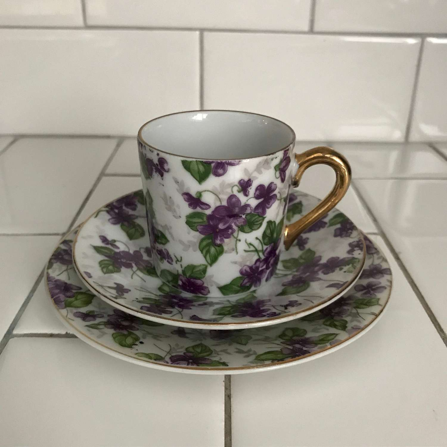 Vintage Inarco Japan Demitasse Tea Cup Saucer Snack Plate Purple Violets Gold Trim Violets Hand Painted Collectible Display Farmhouse Carol S True Vintage And Antiques