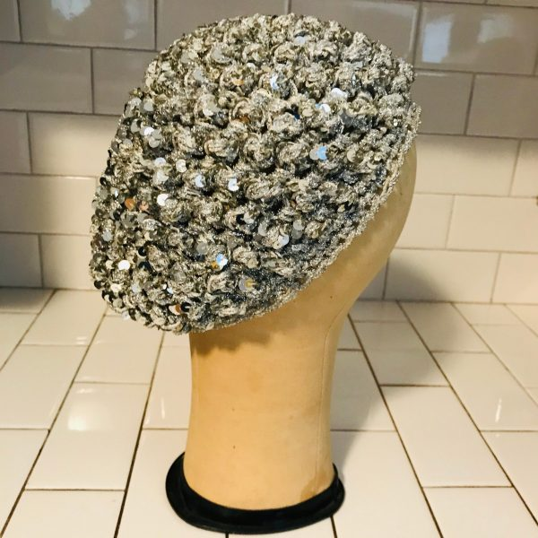 Vintage Snood Hat head cover metallic yarn silver sequins elastic movie theater prop costume special event