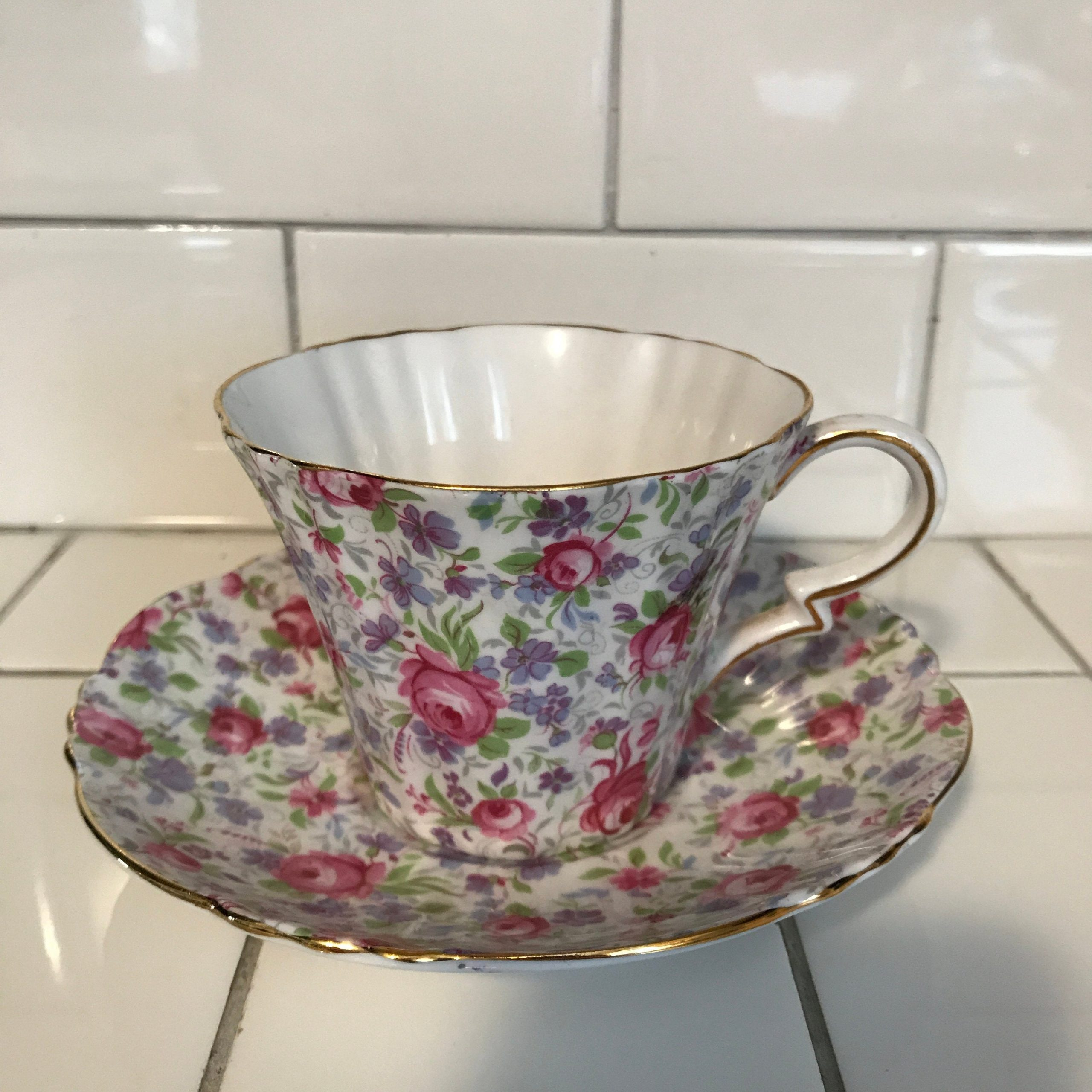 Royal Standard Tea Cup And Saucer England Fine Bone China Chintz Pink Cabbage Rose Farmhouse Collectible Display Coffee Carol S True Vintage And Antiques