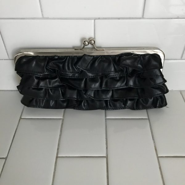 Vintage Daisy Fuentes 1990's ruffled black clutch silver trim top closure tv movie prop collectible display change purse small collectible
