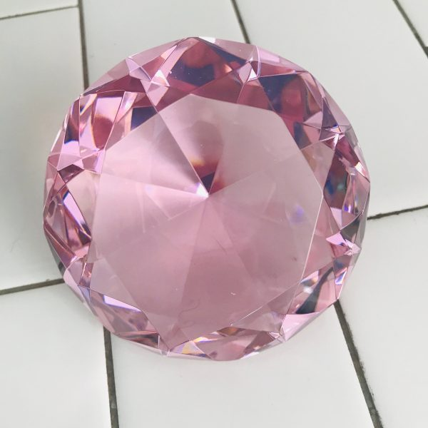 Beautiful Vintage Paperweight Cut crystal round pink diamond shape large size collectible display office home decor