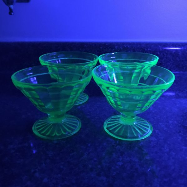 Set of 4 Uranium Glass Sherbet cups block optic dessert bowls fruit cups green glass farmhouse collectible display kitchen dining