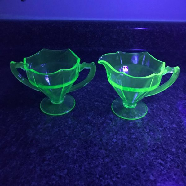 Vintage Cream pitcher and Sugar urnaium glass pedestal base display collectible farmhouse green glass glows under black light