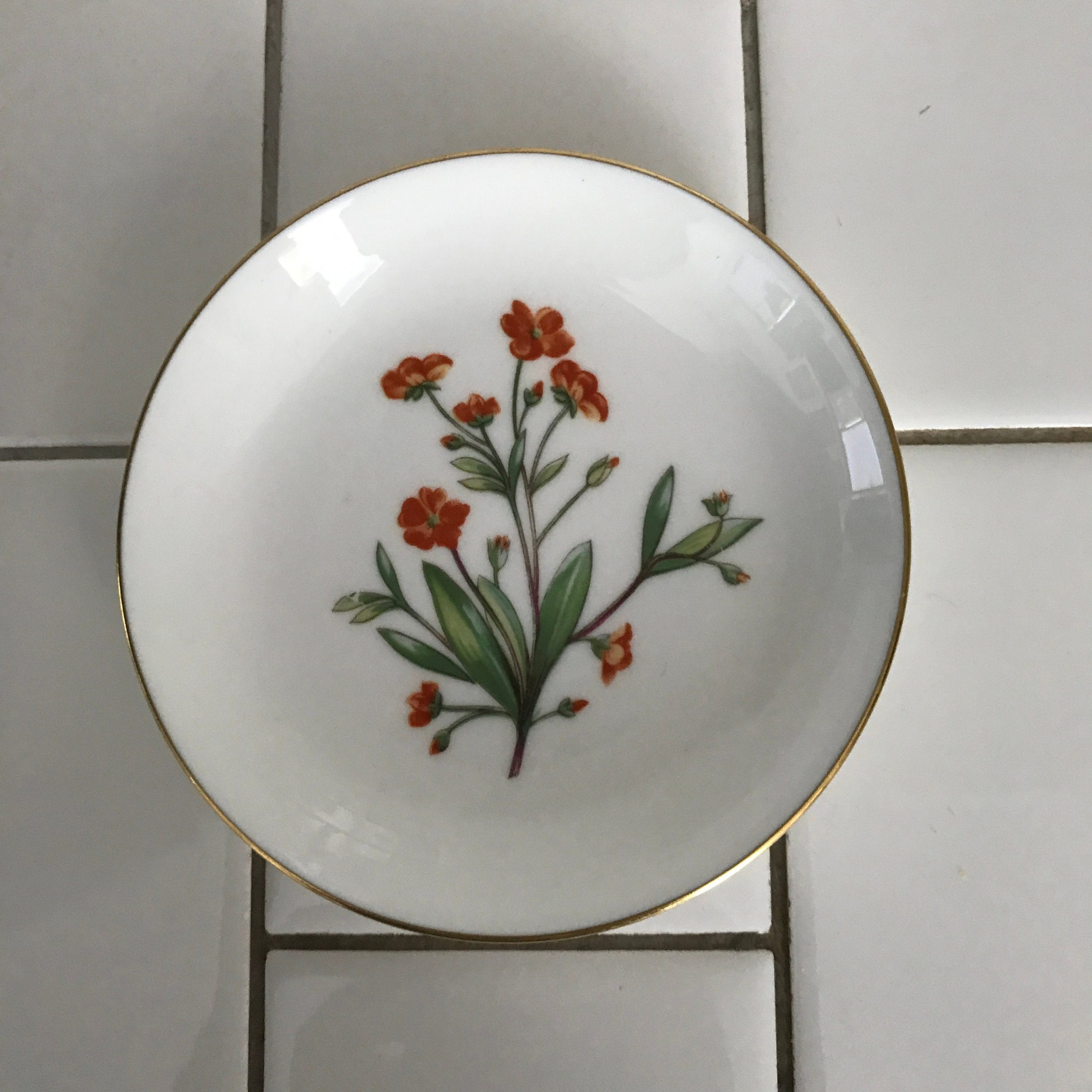 Vintage Miniature Plate Minton England Meadow Pattern Orange And Yellow Flowers Collectible Farmhouse Display Carol S True Vintage And Antiques