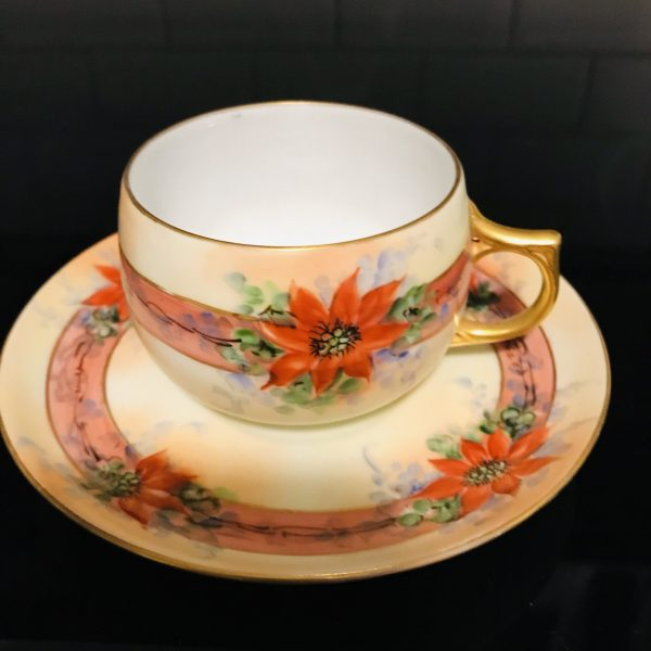 Antique J&C Bavaria Tea cup and saucer Red Poinsettias Fine bone china gold trim farmhouse collectible display Christmas hand painted coffee
