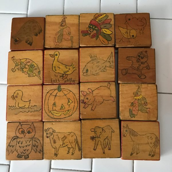 Antique hand made blocks in wooden box hand drawn pictures farmhouse display collectible toys wooden wagon wheels